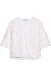 Oversized wrap-effect cotton-blend fil coupé top