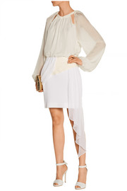 Prabal Gurung Jacquard and silk-chiffon mini skirt