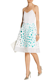 Cutout A-line silk-blend skirt