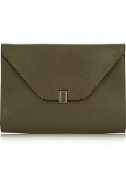 Valextra Textured-leather clutch