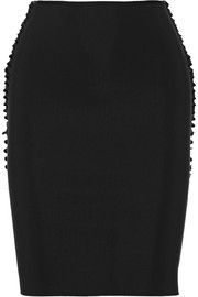 Cutout tech-jersey pencil skirt