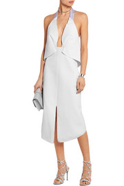 Halterneck stretch-crepe dress
