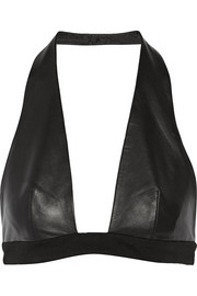 Leather halterneck bra top