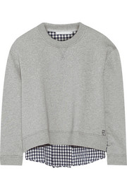 Crepe-paneled cotton-jersey sweatshirt