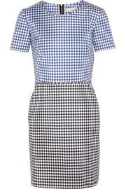 Gingham stretch-cotton twill mini dress