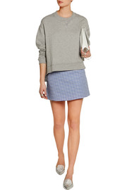 Gingham stretch-cotton twill mini skirt