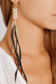 Gold-tone, resin and feather earrings