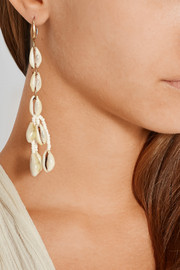 Gold-tone, shell and ceramic bead earrings