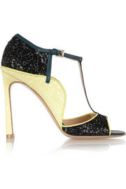 Mary Katrantzou + Gianvito Rossi Margot glittered leather sandals