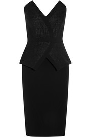 Strapless woven and crepe peplum dress