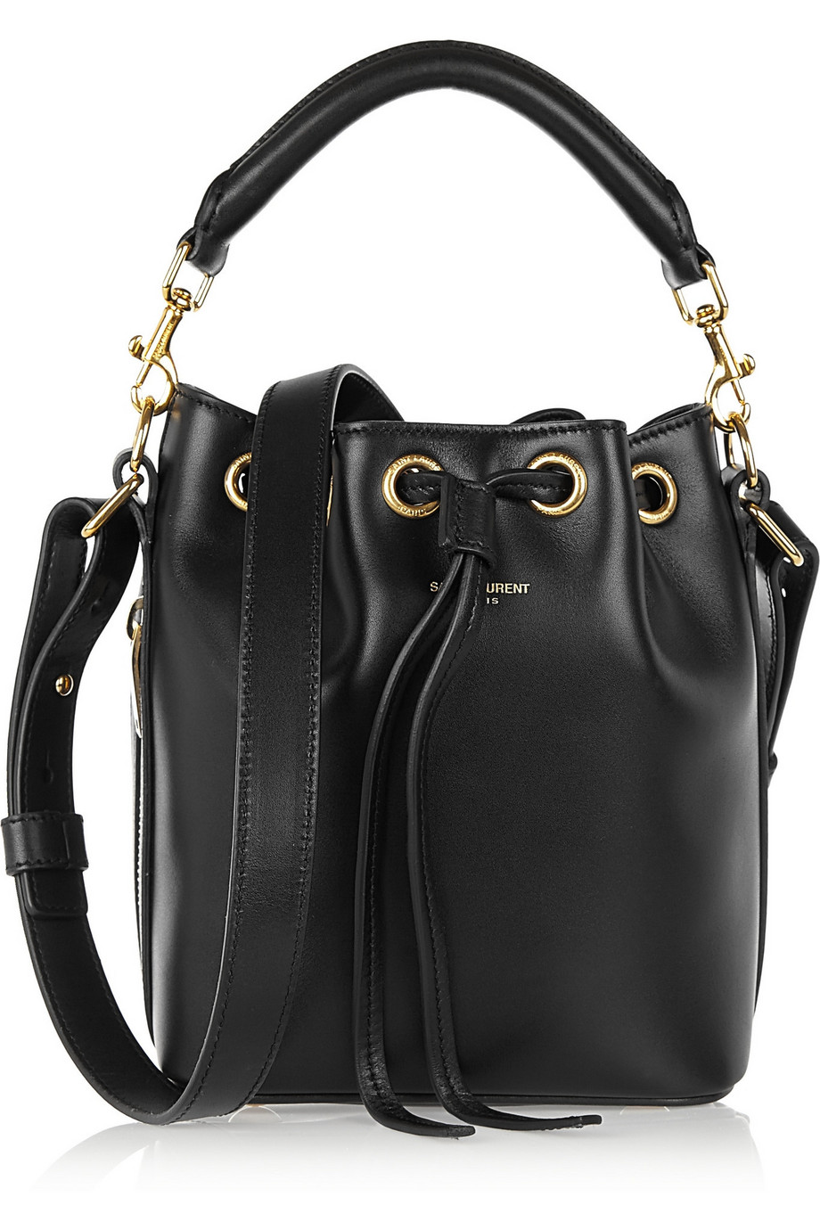 Saint Laurent Emmanuelle Small Leather Bucket Bag, Black, Women's, Size: One Size