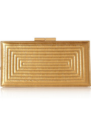 Metallic quilted textured-leather clutch