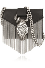 Chain-fringed embellished leather shoulder bag
