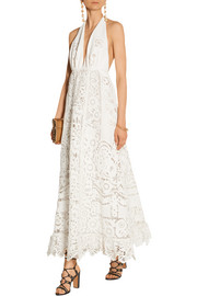 Broderie anglaise linen halterneck gown