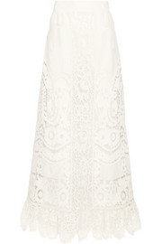 Valentino Broderie anglaise linen maxi skirt