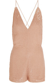 Sequined silk playsuit