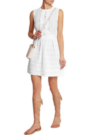 Lace-paneled ruffled knitted mini dress