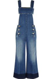 Backless denim wide-leg overalls