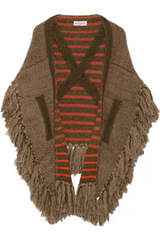 Oversized fringed knitted cape