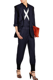 Pinstriped wool-twill jumpsuit