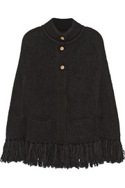 Oversized fringed chunky-knit cape