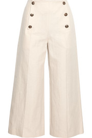 Cropped linen and cotton-blend wide-leg pants