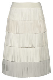 Fringed leather skirt