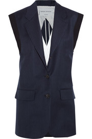 Pinstriped wool-twill vest