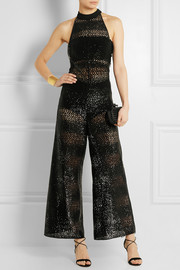 Silk crepe-trimmed sequined crocheted jumpsuit