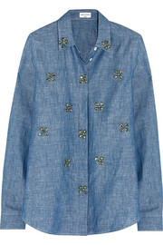 Embellished cotton and linen-blend chambray shirt