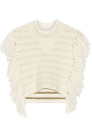 Cropped fringed knitted sweater