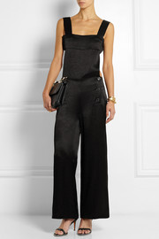 Backless hammered-satin jumpsuit