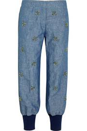 Embellished cotton and linen-blend chambray tapered pants