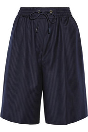 Pinstriped wool-twill shorts