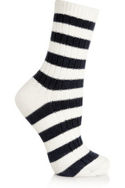 Striped knitted cotton socks