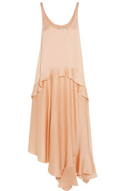 Yenna tiered silk-satin dress