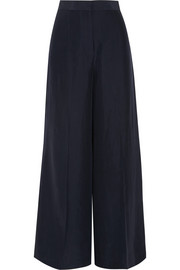 Silk-satin wide-leg pants