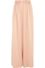 Ruched silk wide-leg pants