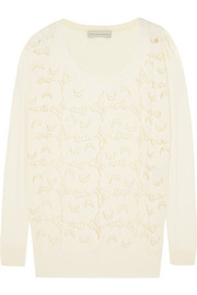 Guipure lace-paneled cotton sweater