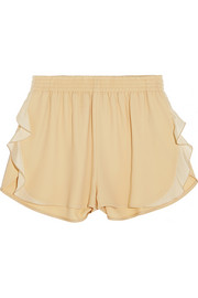 Stella McCartney Ruffled stretch-crepe shorts