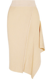 Asymmetric ribbed stretch-jersey midi skirt