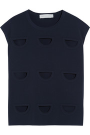 Cutout jersey-crepe top