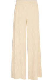 Ribbed jersey wide-leg pants