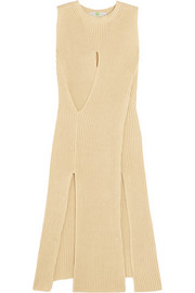 Stella McCartney Cutout ribbed-knit cotton midi dress