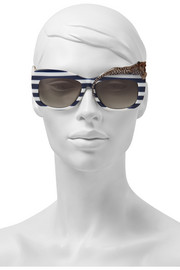 Rose et La Mer square-frame striped acetate sunglasses