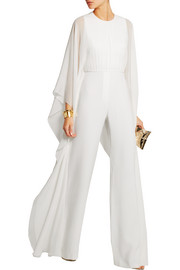 Silk-chiffon and stretch-crepe jumpsuit