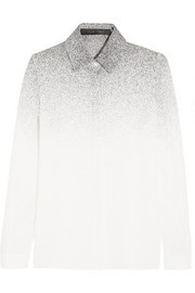 Dégradé printed silk-georgette shirt
