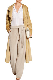 Suede wide-leg pants