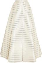 Pearly striped silk-twill maxi skirt