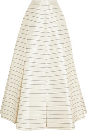 Pearly striped silk-twill maxi skirt